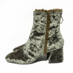 BACK ZIPPER VELVET BOOTS (KHAKI)