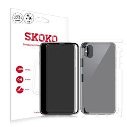 아이폰X 2.5D 블랙 풀커버 강화유리 1매+유광전신 2매