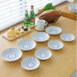 일본산 로터스 접시 4P세트-소