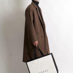 Hyoji overfit wool check long coat