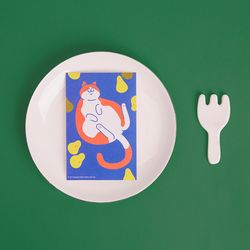 블링블링 식빵뚱냥 반짝이는 펄 엽서 - 서양배