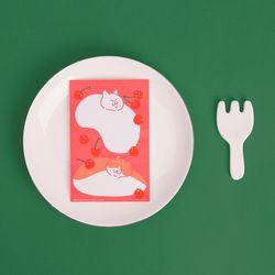블링블링 식빵뚱냥 반짝이는 펄 엽서 - 체리