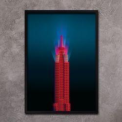 레드 엠파이어 스테이트 빌딩 - A4 메탈액자