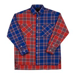 OVERFIT MIX CHECK SHIRTS BLUERED