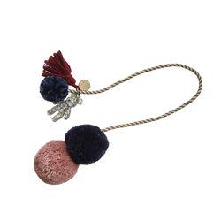 bear pompom strap-인디언핑크네이비