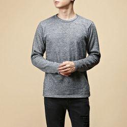 [매트블랙] 골지 기모 라운드 티셔츠