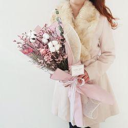 연핑크 목화꽃다발 + 화병