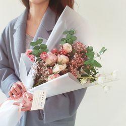 로즈 안개 꽃다발 + 화병
