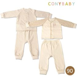[CONY]오가닉실내복90사이즈2종세트(도트+ST)