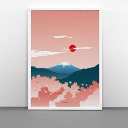 일본 인테리어 디자인 포스터 벚꽃후지산 A3(중형)