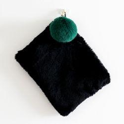 pompom black clutch
