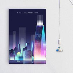 iw668-잠들지않는도시의야경세로중형노프레임