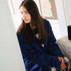 [1/26 출고예정] 드롭숄더 오버핏 포켓 가디건 블루