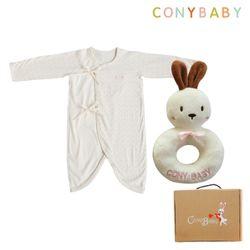 오가닉신생아2종선물세트(여아배냇가운+토끼딸랑이)