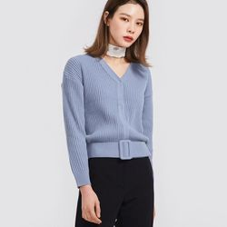 sense belt v-neck cardigan