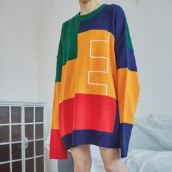 multi-color boxy knit (2 color) - UNISEX