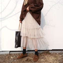 Cancan chiffon long skirt