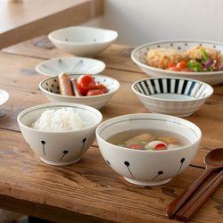 니코트 블랙 에가와리 밥공기 국그릇 1인 세트 JAPAN