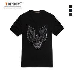 독수리 자수 V넥 티셔츠 (CA055)