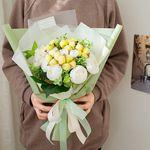 노오란 목화와 라넌큘러스 꽃다발