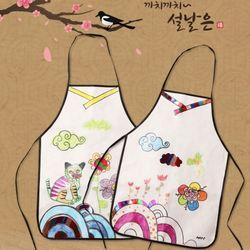 전통그림앞치마(1매)어린이앞치마부직포앞치마미술