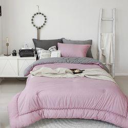 듀엣 고밀도코튼 차렵베딩-핑크-싱글풀세트
