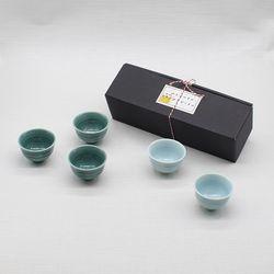 달소금 설날맞이 도자기소주잔 하늘빛 술잔세트(5p)