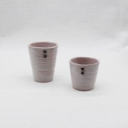 달소금 핸드메이드 도자기컵 머그잔세트(2p)-코랄핑크