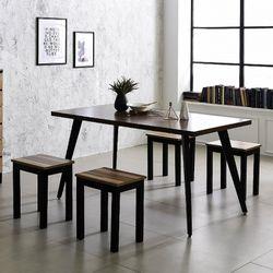 스틸 인더밴 1500식탁세트 일자형 철제 테이블책상