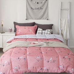 윈터캣츠 세미 차렵베딩-핑크-싱글풀세트