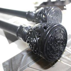 커튼봉(지름2.5cm) 12자 3단(190-360cm)-화이트 블랙