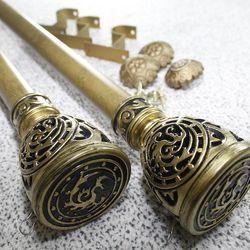 커튼봉(지름3.5cm) 14자 3단(300-420cm)-골드