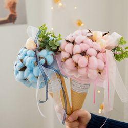 목화솜사탕 아이스크림콘 꽃다발