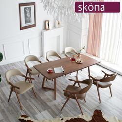 모리아 에쉬 원목 6인 식탁 세트(의자형)