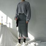 Slit wool long knit skirt