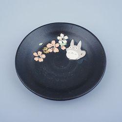 토토로 미노야키 블랙 도기 접시 (S)
