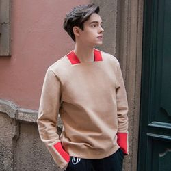 Square Neck Sweat Shirt (Beige & Red)
