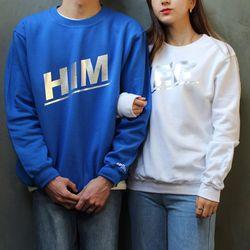 [문구변경가능] 남녀공용 HER&HIM 레터링 커플 기모 맨투맨&후드