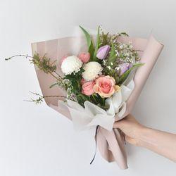 졸업입학 꽃다발 핑크 장미 퐁퐁
