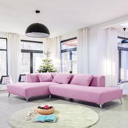 헤이그 3인+카우치 스웨이드 소파-핑크
