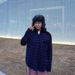 코듀 배색 오버핏 체크 남방n125