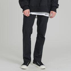 ELASTIC WAIST 78 STRIPE PANTS BLACK