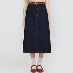 neat midi denim skirt (s m)