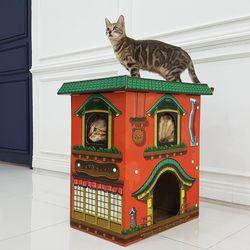네코료칸 고양이 박스 스크래쳐 하우스 박스형 캣타워