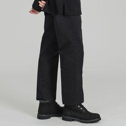 BASIC 2H LINE COTTON PANTS BLACK