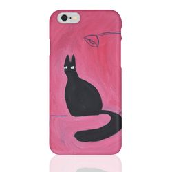 (Phone Case) Black cat on the dest
