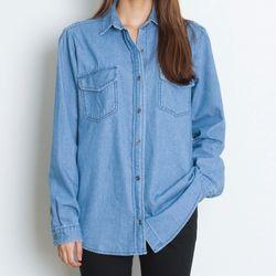 R8161 베이직 데님셔츠