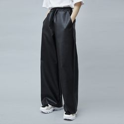leather wide pants (3 color) - UNISEX