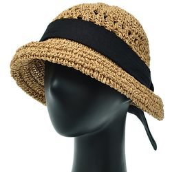 [더그레이]DKP04.면리본 밀짚 여성 여름 비치 모자