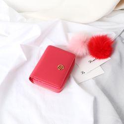 렌토 오픈지퍼반지갑 핑크